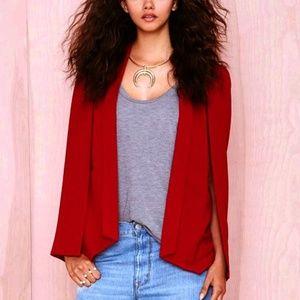 NASTY GAL Deep Red cape Blazer/S/NWT